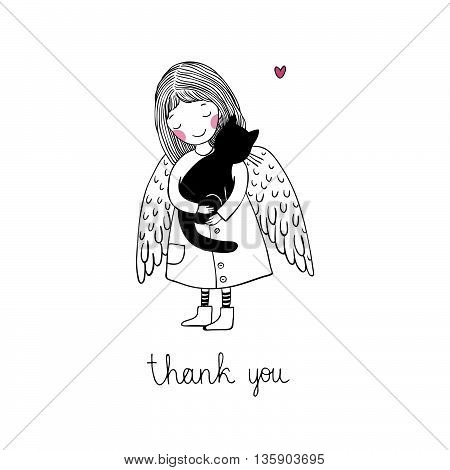 Angel and black cat. Hand drawing isolated objects on white background. Vector illustration.