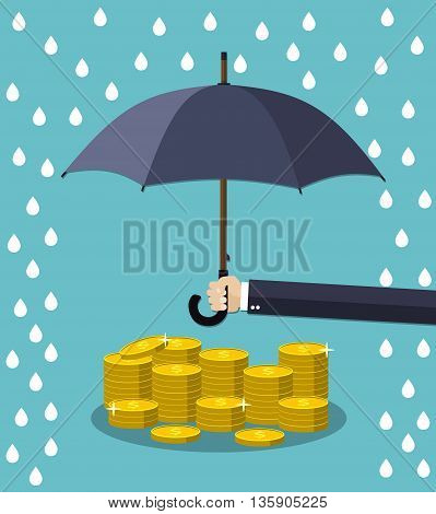Hand holding umbrella under rain to protect money. money protection, financial savings concpet. vector illustration in flat style