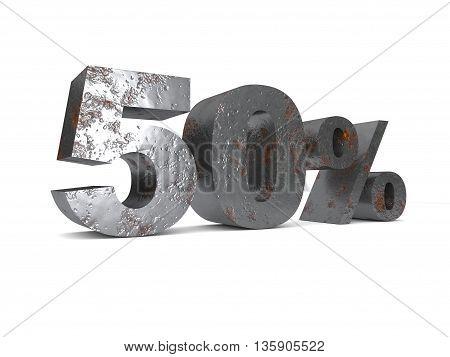 Metal fifty percent off. Discount 50%. 3D illustration.