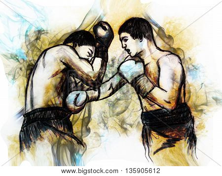 Illustration boxing match. Hand drawn picture - a sketch