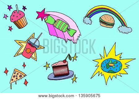 Magic food set. Hand drawn vector stock illustration.