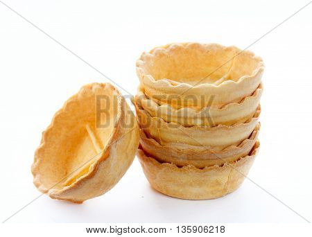 Empty tartlets isolated on a white background