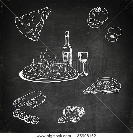 Pizza with food. Hand drawn vector stock illustration. Chalk board drawing.