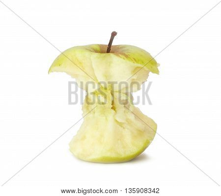 The stub of an apple on a white background
