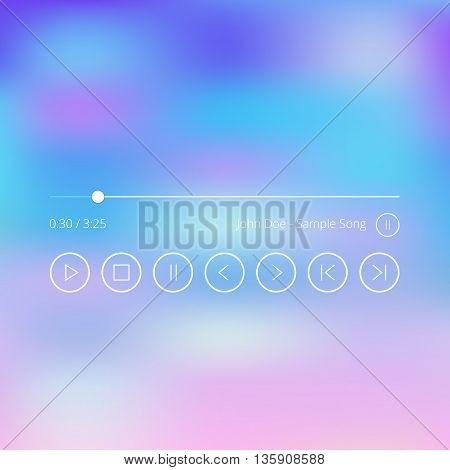 Modern thin line audio player ui elements set. Music player app user interface icons set, buttons, slider, song title. Minimalistic concept. Vector illustration isolated on trendy gradient background