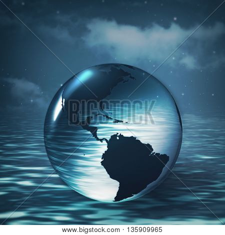 Earth sphere over ocean surface abstract environmental backgrounds