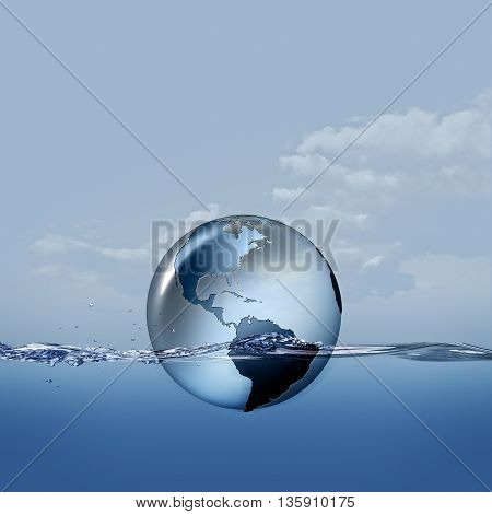Earth planet on the water waves abstract eco backgrounds
