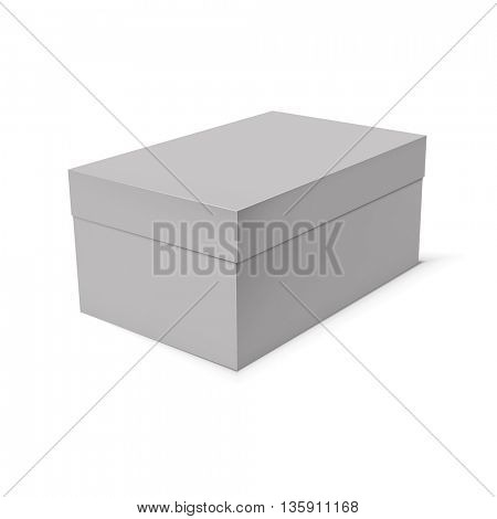 Blank paper or cardboard box template on white background. Jpeg version.
