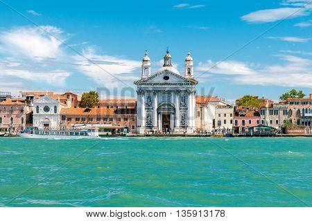 View from the canal on the Dominican church Gesuati Santa Maria del Rosario in Sestiere of Dorsoduro, on the Giudecca canal. Venice, Italy.