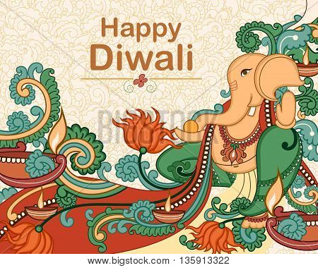 Vector design of Lord Ganesha for Diwali prayer in Indian art style