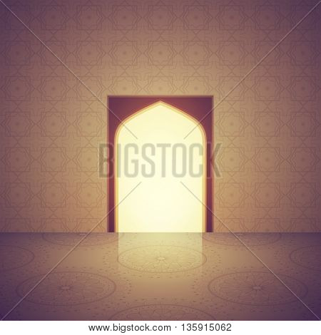 Beautiful Mosque Interior with door, decorated with arabic pattern. Creative vector illustration for Islamic Festival celebration.
