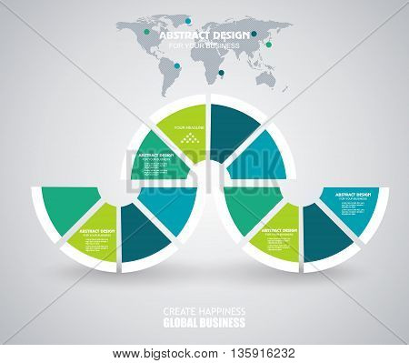 Business Infographics in circle segments origami style. Vector illustration. Can be used for workflow layout banner diagram number options step up options web design.