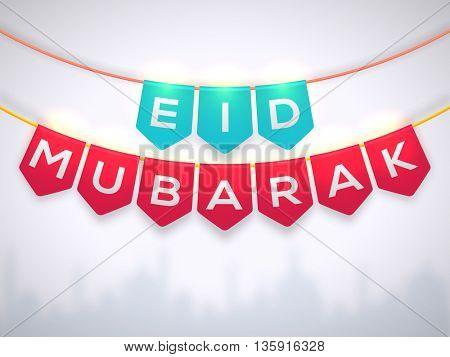 Glossy Text Eid Mubarak on creative buntings, Elegant Greeting Card design for Muslim Community Festival celebration.