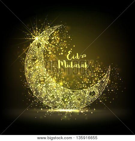 Glowing Crescent Moon with beautiful floral design decoration, Elegant Greeting Card for Holy Festival of Muslim Community, Eid Mubarak celebration.