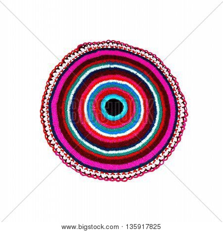 the photo carpet round knitted multicolored by threads