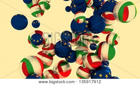 Large group of orbs or spheres levitation in empty space. 3D rendering. Italy and European Union flags