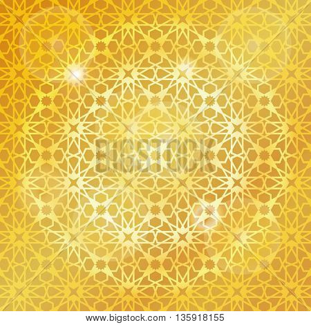 Ornamental  pattern.Vector abstract background.Arabic islamic motif, Geometrical ornament.Vector muslim, traditional mosaic backdrop.Vintage wallpaper, religious linear texture, gold holiday template