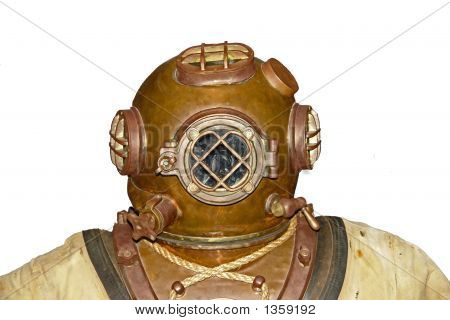 Vintage Diver Head Isolated