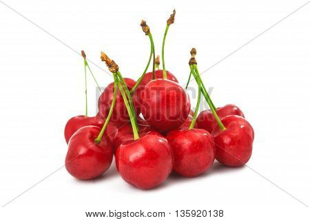 ripe red cherry on a white background