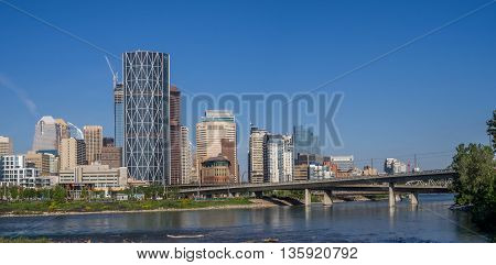 CALGARY, CANADA - JUNE 5: East Village skyline on June 5, 2016 in Calgary, Alberta Canada. The East Village area is large new residential and commercial development in central Calgary.