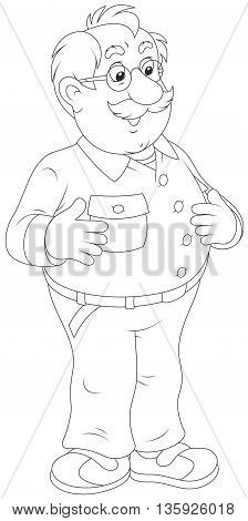 Smiling old man. Black and white vector illustration of a moustached aged man friendly smiling