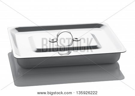 The tray from stainless steel with a cover for surgical tools is isolated on a white background with reflection