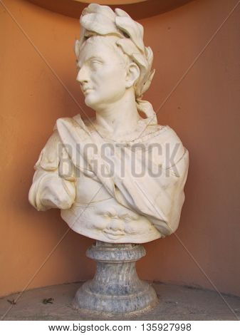 Look closely. A whimsical regal marble European bust