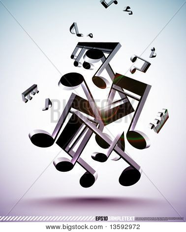 Tangled Up 3D Vector Musical Notes