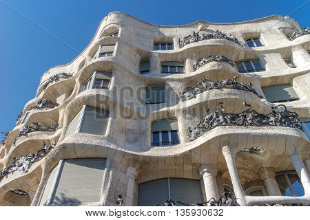 La Pedrera Famous building was designed by Antoni Gaudi and is one of the most visited in the city.