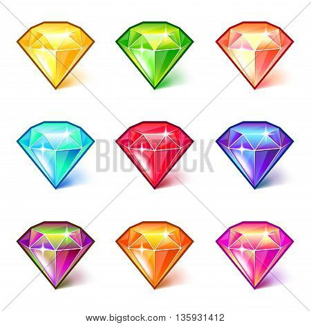Colorful cartoon diamonds icons detailed photo realistic vector set