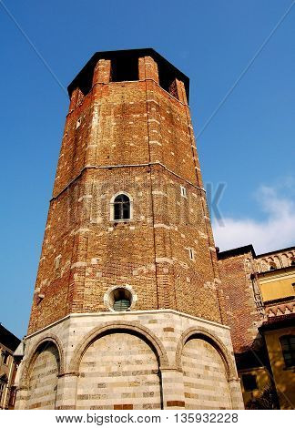 Udine Italy - June 11 2005: Octagonal brick and stone campanile at the 14th century Duomo (Cathedral)