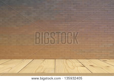 Wood table top on bare concrete wall background vintage background template display
