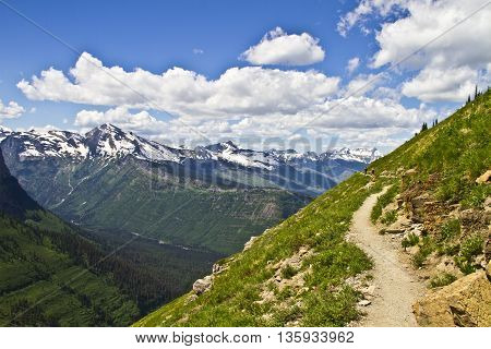 Mountain hiking trail under blue sky in Glacier National Park Montana USA
