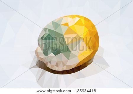 polygonal lemon with a green mold separately from a background