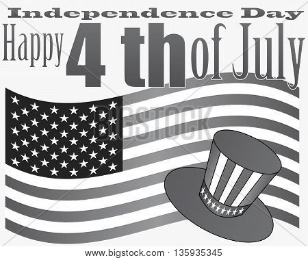 card July 4th to the US Independence Day on a gray background
