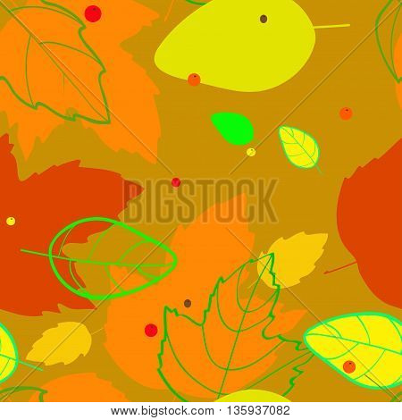 pattern with the image of silhouettes and contours red orange yellow green autumn leaves and berries on the ocher background