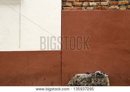 Old Concrete Wall Texture. Braun and White Colour. Horizontal Backgroud For Text Or Image
