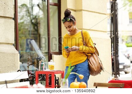 Young African American Woman Mobile Phone