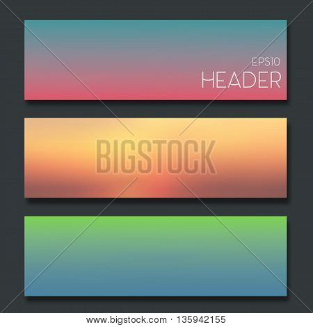 Set of blurred headers. It's good for web design or app design elements.