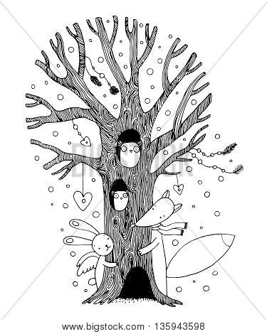 Beautiful magic tree, fox, hare angel and owl. Hand drawing isolated objects on white background. Vector illustration.
