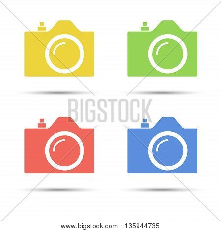 Common SLR camera color icons signs placed on white background