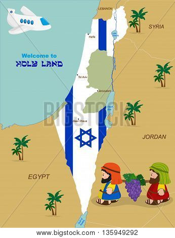Welcome to Holy Land, map of Israel with flag and cartoon characters of Two spies of Israel carrying grapes. Vector illustration
