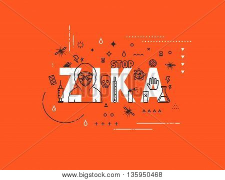 Design concept epidemic of zika virus. Modern line style illustration. Concepts of words zika virus, style thin line art, design banners for website and mobile website. Easy to edit. poster