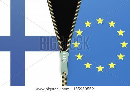 Finland and EU relation concept. Fixit referendum concept 3D rendering