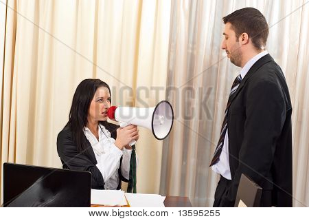 Furious Chief Woman With Megaphone