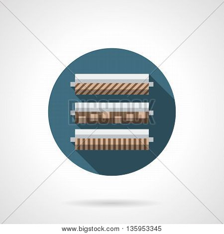 Rolls of linoleum with different pattern. Interior design elements, building materials for renovation works. Floor covering for home and office. Round flat color style vector icon.