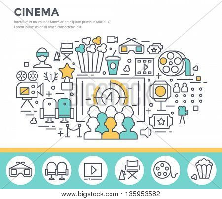 Cinema  concept illustration, vector template poster, thin line flat design
