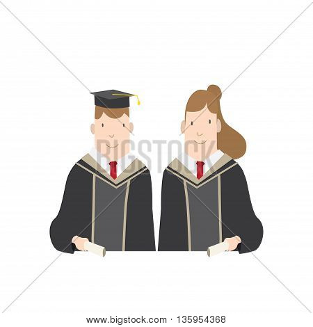 Illustration vector Half-length cartoon character male and female students in academic gown. Education Graduation Character Concept.
