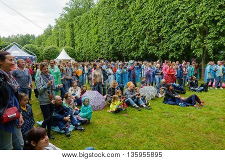 MOSCOW - JUNE 4: People attend open-air concert on International Jazz Festival