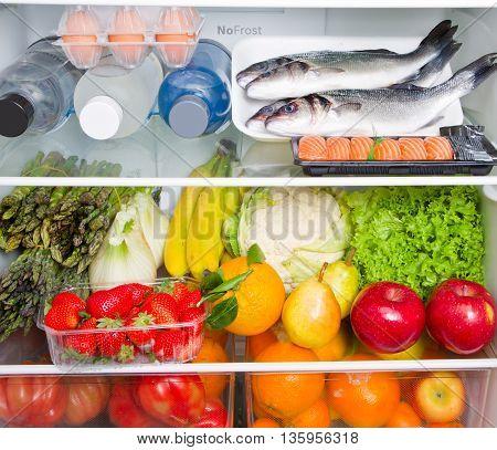 refrigerator full of healthy food, Mediterranean diet